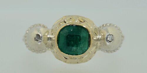Georgian 14K & Silver Emerald and Diamond Ring