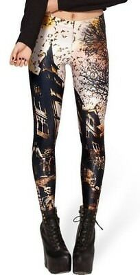 Friedhof Leggings XS/S/M Halloween Muster Leggins Horror Haus - Halloween Leggings