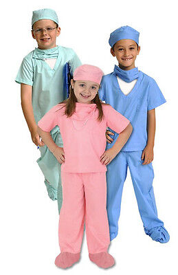 Medical Scrubs Child Costume Boy Girl ER Doctor Dr. Surgeon Green Pink Blue - Er Doctor Costume