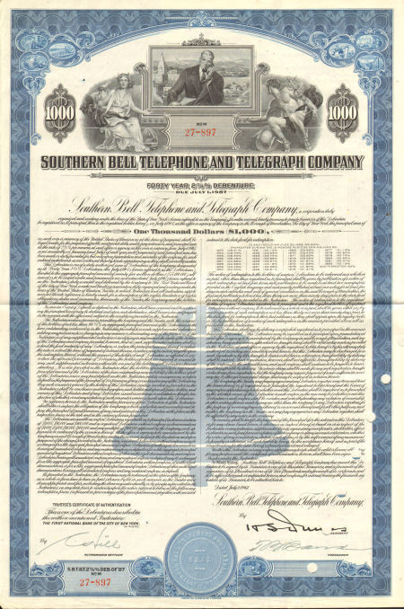 Southern Bell Telephone and Telegraph Company > $1,000 bond certificate