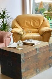 Yellow Leather Armchair- £40