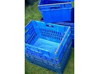 Four large roll bar bale rod blue stacking nesting crates