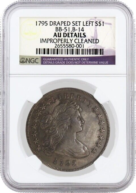 1795 $1 Draped Bust Silver Dollar Off Center B-14 BB-51 NGC AU Details Cleaned