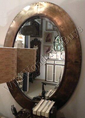 "Metallic Oval Wall Mirror Light Bronze 38""H Metal Frame Tuscan Bathroom New"
