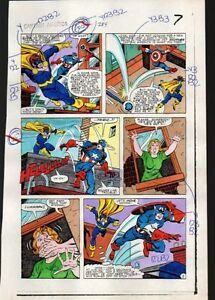 Original-1983-Captain-America-284-page-7-Marvel-color-guide-art-S-Buscema-1980-039-s