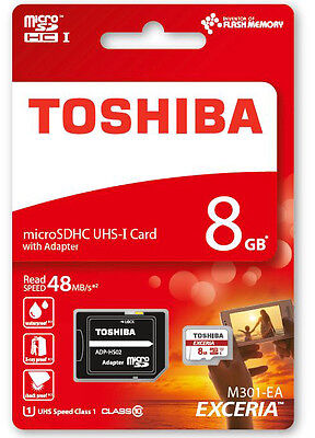 Toshiba Ultra 8GB Class 10 Micro SD SDHC Memory Card With Adapter