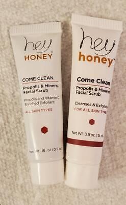 Lot of 2 Hey Honey COME CLEAN Propolis & Mineral Facial Scrub .5 oz each