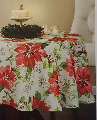 New Holiday Time Fabric Tablecloth Traditional Poinsettia Size 70in. Round