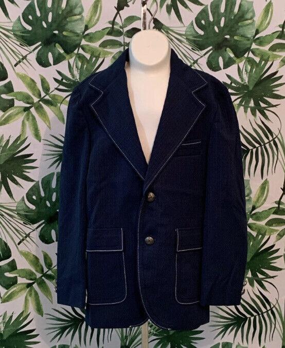 1970s Boys Sportcoat Navy Blue Two Button Jacket Blazer VTG Childrens