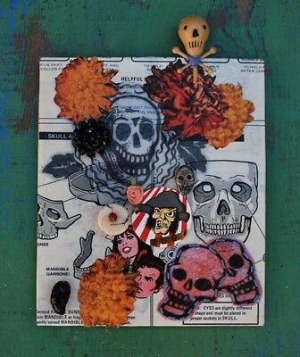 Day of the Dead/Halloween One-of-a-Kind Original Mixed Media Collage Art - Halloween Mixed Media Art