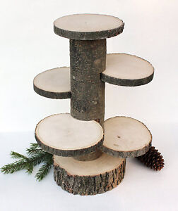 Rustic Wedding Decor--wood slices, cake stands....