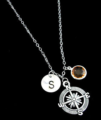 Compass Necklace,Compass Jewelry,Best friend gift-Personalized Initial