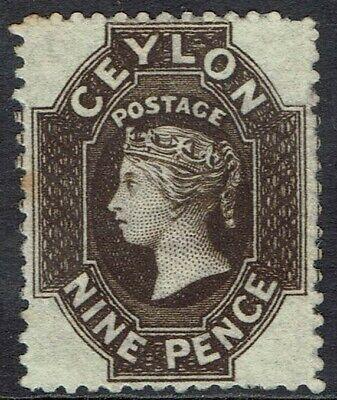 CEYLON 1867 QV 9D WMK CROWN CC SG TYPE W6 NO GUM