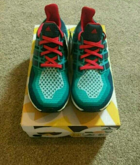 8e3efb6df Adidas Ultra Boost Mens Running Shoes- Clear Green Mineral shock Red -UK  Size 11