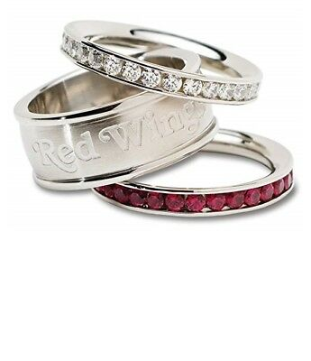 Detroit Red Wings NEW Size 8 Team Logo Crystal Stacked Ring Set . NHL Hockey (Nhl Team Logo Crystal)