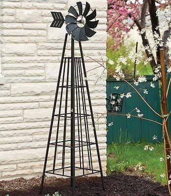 Metal Garden Windmill Outdoor Yard Decor Large Wind Spinner Sculpture Ornament