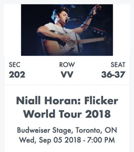 2 tickets to: Niall Horan at Budweiser Stage, Toronto - Sept 5