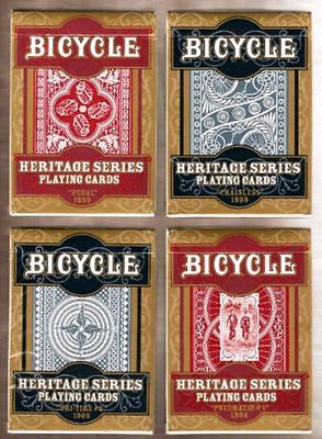 Heritage Series 4 Deck Set Bicycle Playing Cards Poker Size USPCC Custom Limited