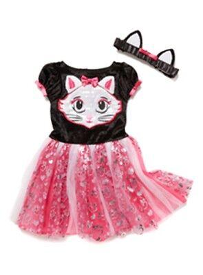 Halloween Devilish Cute Cat w/ Ears Headband Baby Girls Kitty Pink Black NEW H16