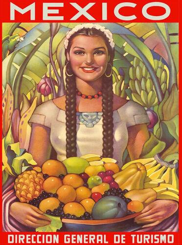 Mexico Visit Senorita Mexican Spanish Vintage Travel Advertisement Art Print