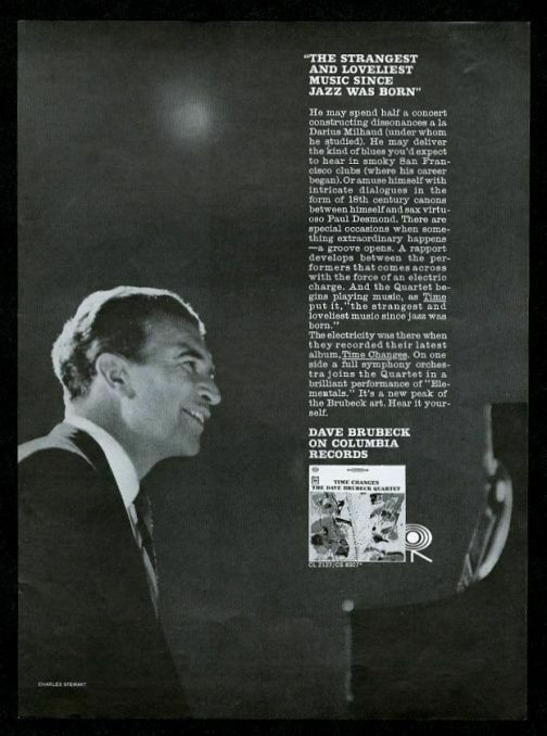 1964 Dave Brubeck photo Time Changes album release vintage print ad