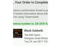 2 Black Sabbath standing tickets 24th January