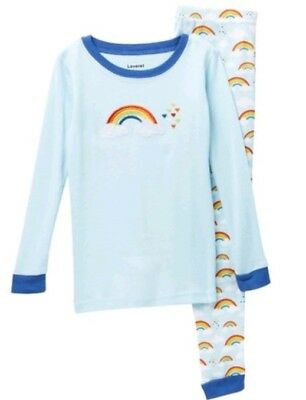 Leveret Embroidered Rainbow Pajamas Long Sleeves All Over Print Pants Sz 10 (Embroidered Print Pajama Set)