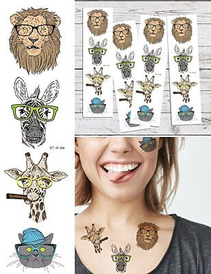 Supperb Temporary Tattoos - Animals Lion Donkey Giraffe Cat Tattoo (Set of 4) - Tattoos Of Animals
