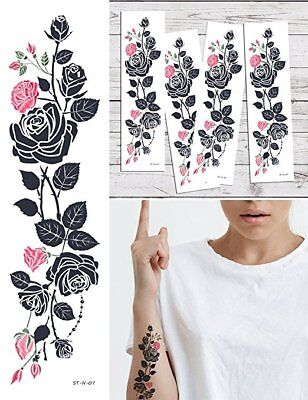 Flower Vines Tattoo (Supperb Temporary Tattoos - Pink Tribal Flower Vine Temporary Tattoo (Set of 4) )