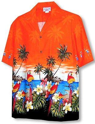 Parrots Beach Border Hawaiian Shirt, Orange