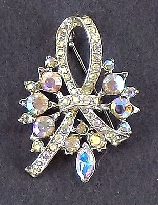 ANTIQUE COSTUME Brooch CLEAR RAINBOW RHINESTONES WOMENS GIFT Jewlery PIN FASHION Antique Womens Brooch