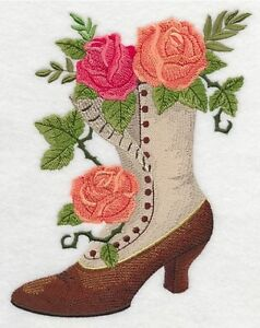 Jane's Boot with Roses Embroidered Block St. John's Newfoundland image 1