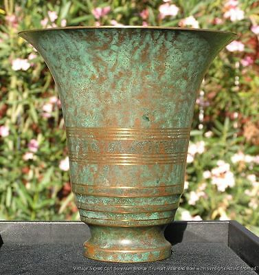 Antique Modernist Signed Carl Sorensen Bronze Trumpet Vase + Bowl circa 1920
