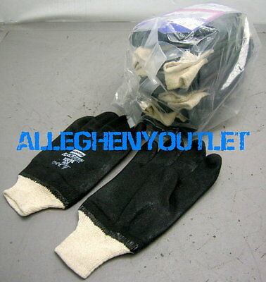 2 Pair Double Dipped Pvc Coated Work Gloves Over Jersey Liner Rough Finish Xl