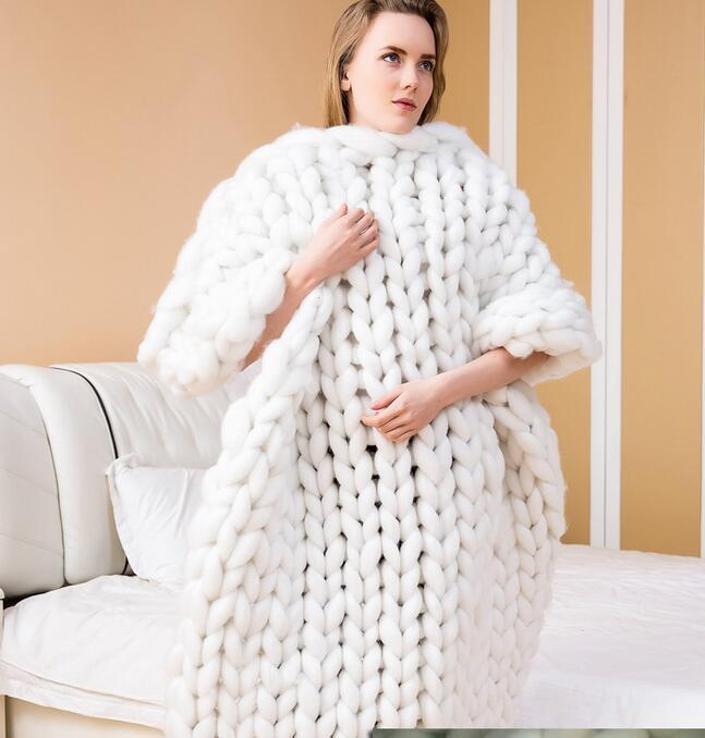 MultiColor Große Warme Knitted Strickdecke Thick Garn Wolle Bulky Chunky Weiß