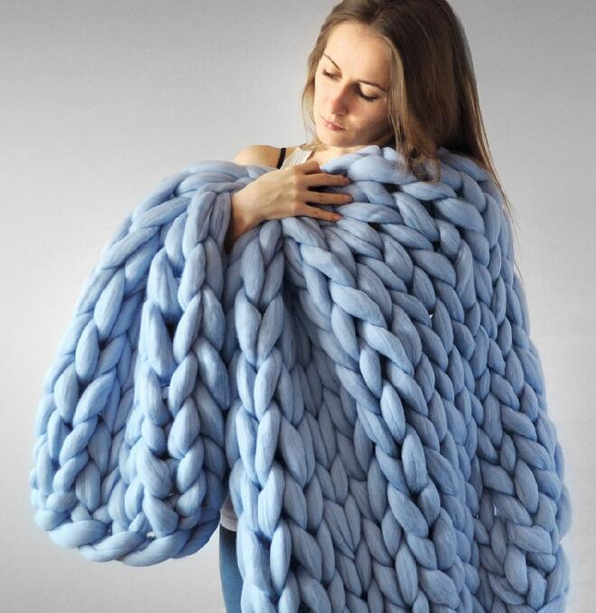 MultiColor Große Warme Knitted Strickdecke Thick Garn Wolle Bulky Chunky See Blau