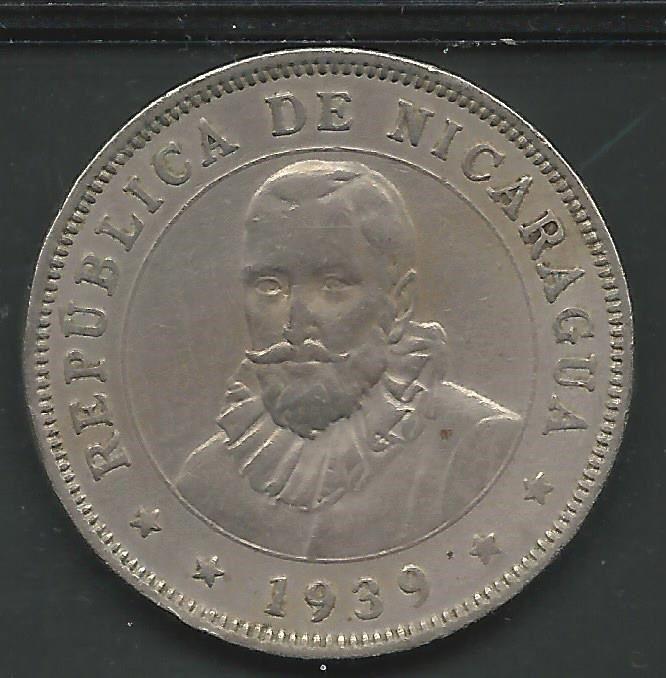 NICARAGUA, 1939,  50 CENTAVOS, COPPER NICKEL,   KM#19.1,   VERY FINE-EXTRA FINE+