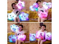 NEW Gift Romantic LED Light Up Glow Pillow Soft Cosy Relax Cushion love Star