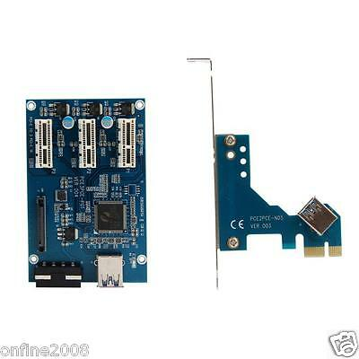 Mini PCI-e Express 1X to 3 Port 1x Switch Multiplier HUB Riser Card+USB Cable