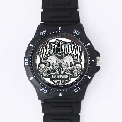 Harley-Davidson Mens Skull Text with B&S Large Pa Accessories Sport Metal Watch Harley Davidson Skull Accessories