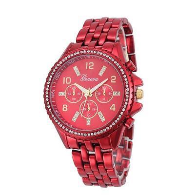 Geneva Luxury Men Women Watch Crystal Stainless Steel Quartz Analog WristWatches