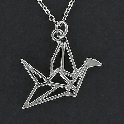 Origami Crane Necklace - Pewter Charm on Cable Chain Bird Outline Paper Fold (Fold Origami Bird)