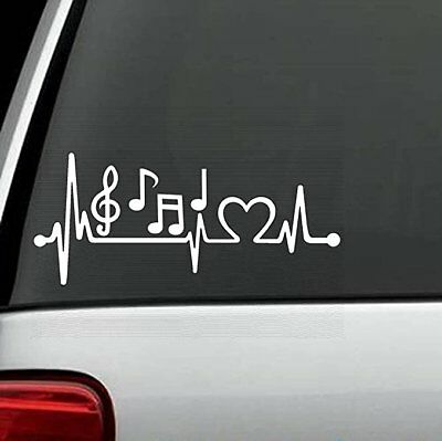 "7 Music Notes (7"" White Music Notes Heartbeat Lifeline Monitor Decal Sticker, car, laptop)"