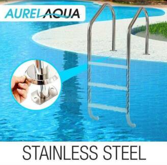 Swimming Pool Ladder 3 Wide In-Ground Stainless Non-Slip Steps
