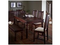 John Lewis Maharani 6/8 Seater Dining Table, two chairs and two 3 seater benches