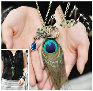 Vintage Gorgeous Antiqued Bronze Multicolor Peacock Feather Necklace Long Chain