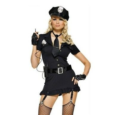 Women's Police Fancy Dress Costume for Halloween Cosplay Ladies Sexy Cop Outfit (Cop Outfit For Halloween)