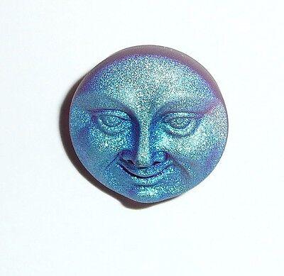 Lt. Purple Amethyst Czech Glass Shank Moon Face Button 18mm - Lt. Purple Button