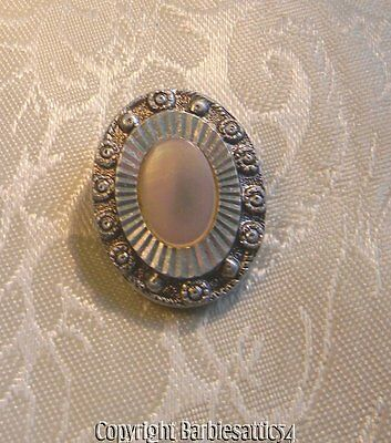OLD Vintage Oval Shoe Scarf Clip Mother of Pearl Silvertone