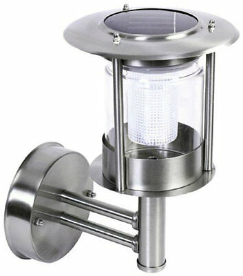 Stainless Steel White LED Wall Light Outdoor Solar Powered Garden Lantern Light